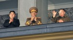 North Korean leader Kim Jong-il and his youngest son Kim Jong-un gesture next to a military official in Pyongyang