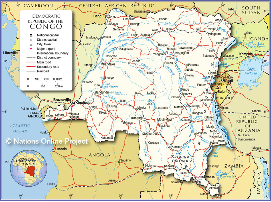 Map showing Democratic Republic of the Congo