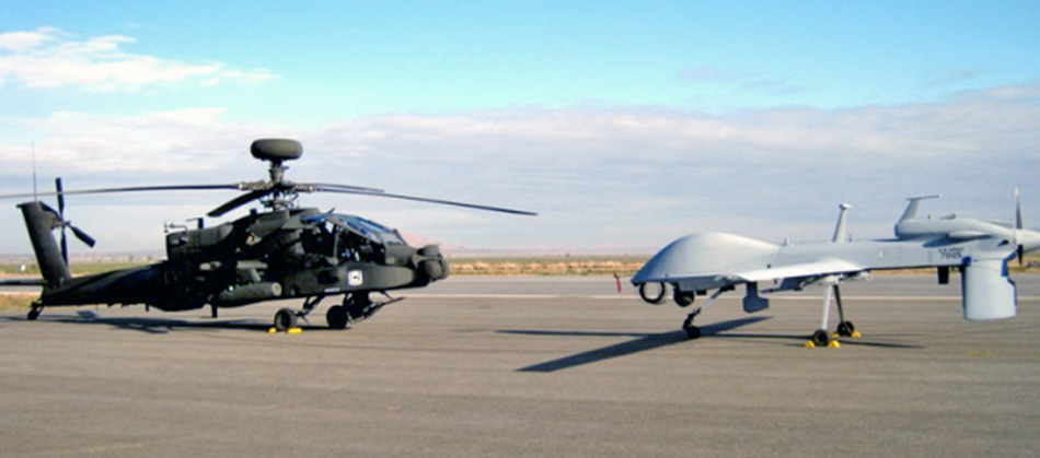 Success in sending real-time intelligence from the Gray Eagle UAS (right) direct to Apache cockpits could lead to a revision in U.S. Army procurement plans. Credit: U.S. Army